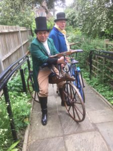 The Dandy Chargers on their velocipedes at the Fourth Bicentennial John Keats Conference